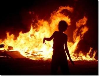 woman dancing fire